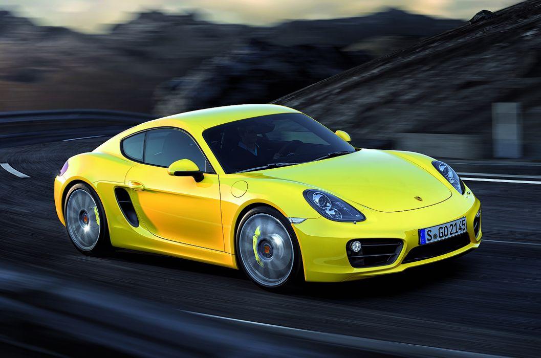 2013 Porsche Cayman sportcar yellow roads wallpaper