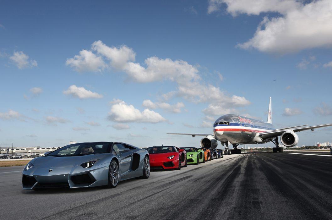 2014 Lamborghini Aventador LP700-4 Roadster supercar aircrafts airplane jets wallpaper