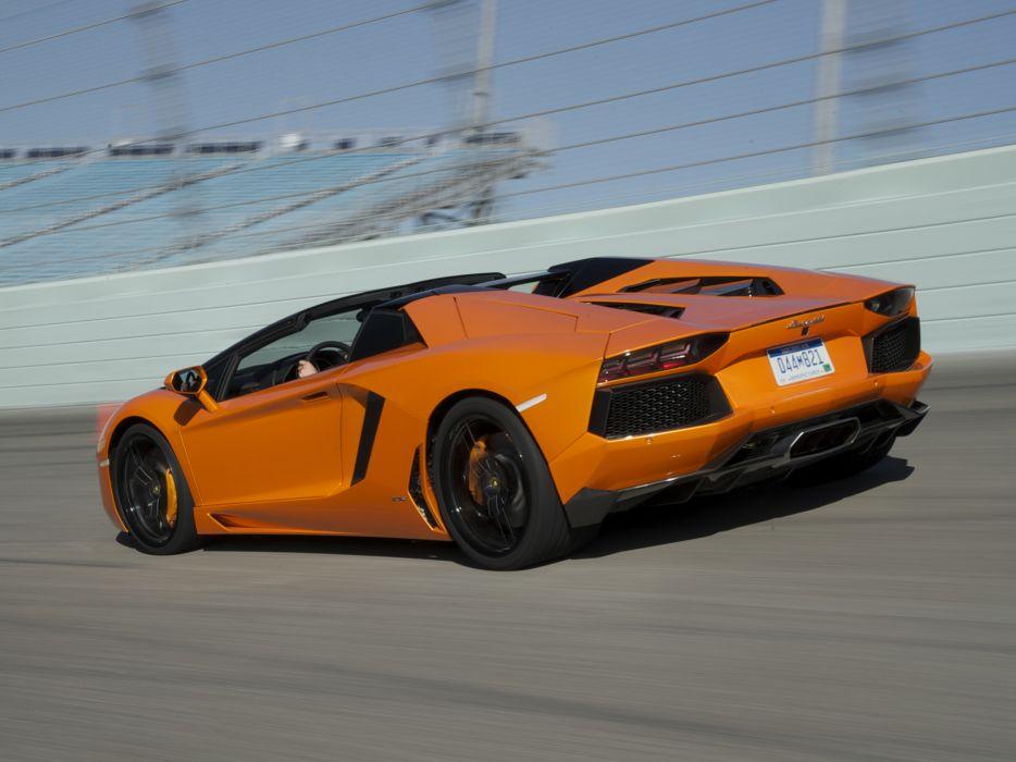 2014 Lamborghini Aventador LP700-4 Roadster supercar orange track           r wallpaper