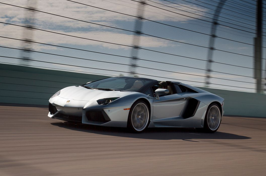 2014 Lamborghini Aventador Roadster supercar silver           h wallpaper