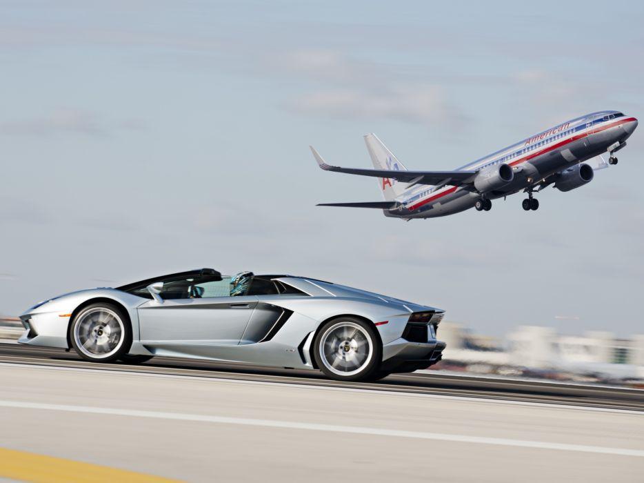2014 Lamborghini Aventador Roadster supercar silver airplanet jets aircrafts flight wallpaper
