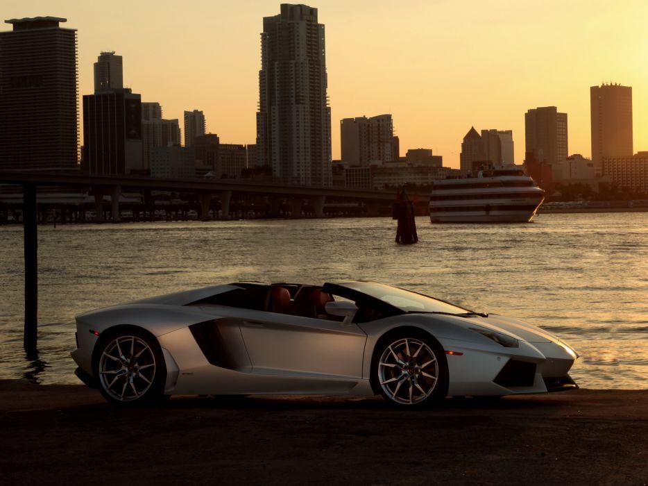 2014 Lamborghini Aventador Roadster supercar silver cities wallpaper