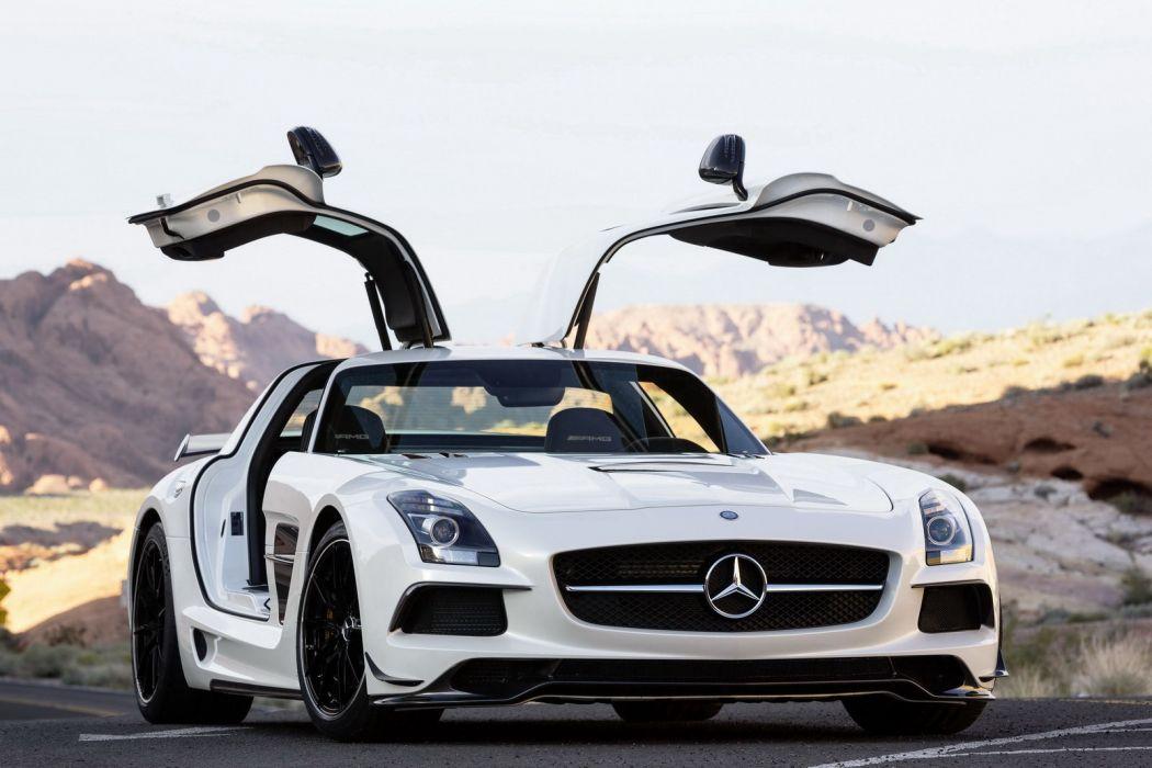 2014 Mercedes-Benz SLS AMG Black Series supercar white roads wallpaper