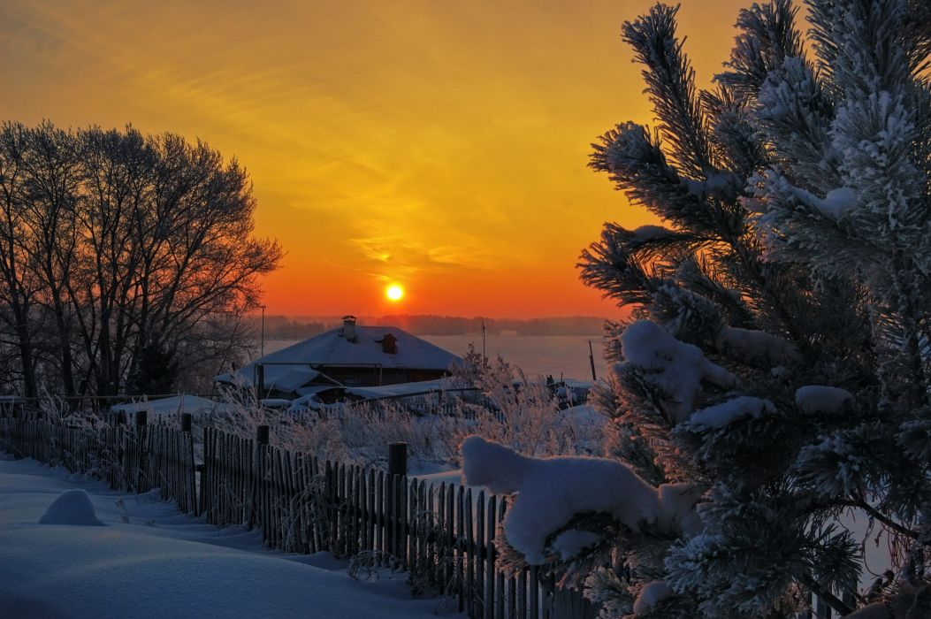 architecture buildings houses winter snow trees sky sunset sunrise fence wallpaper