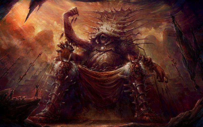 Blaz Porenta fantasy art gods demon monster creature worship people wallpaper