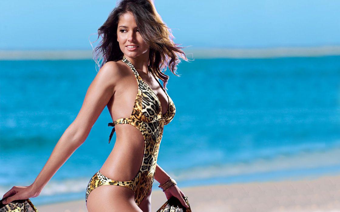 Carla Ossa women females fashion glamour models sexy babes brunettes bikini swimwear       r wallpaper