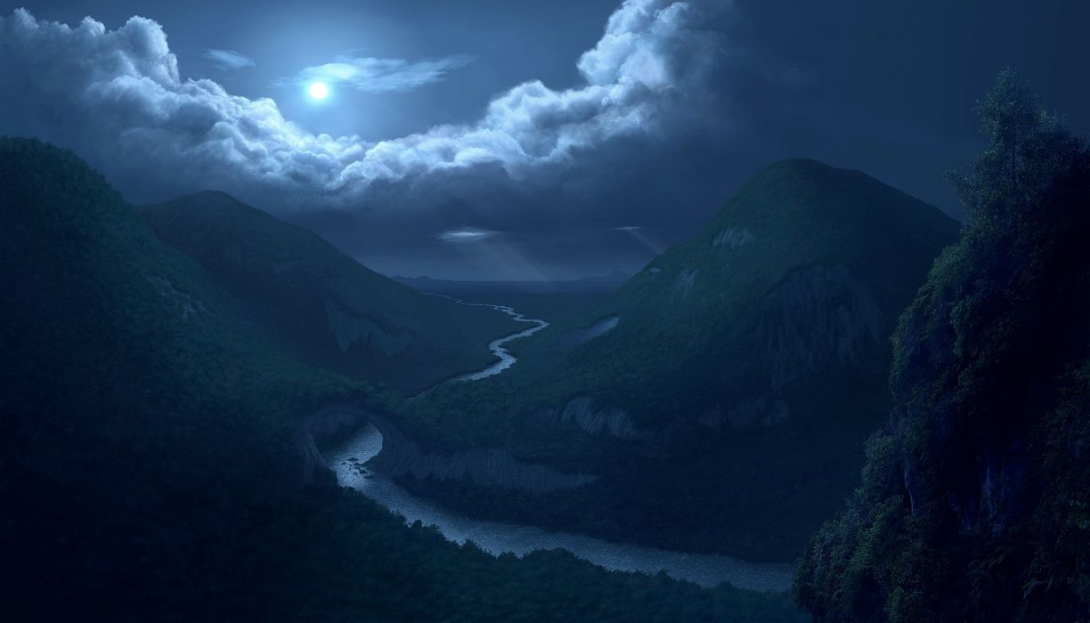Cg Digital Art Nature Landscapes Rivers Valley Mountains