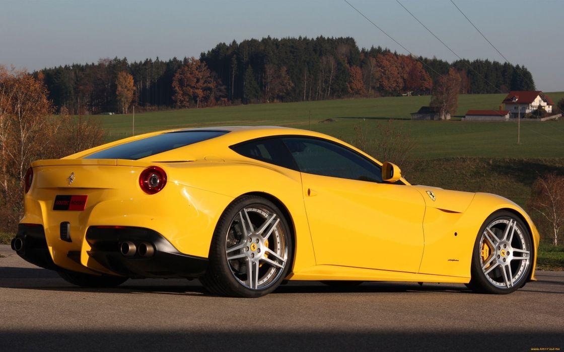 Ferrari F12 Berlinetta supercar yellow roads wallpaper