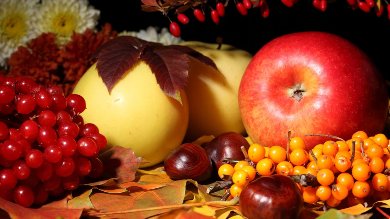fruit still life apples berries berry nuts food leaves autumn fall wallpaper