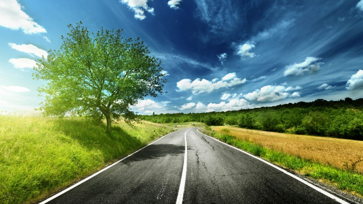 grass nature landscapes roads trees sun sunlight sky clouds manipulation wallpaper