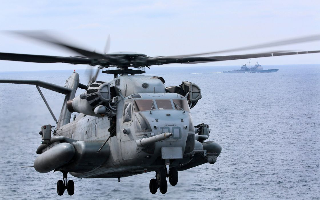 helicopter military flight ocean sea ships boat wallpaper