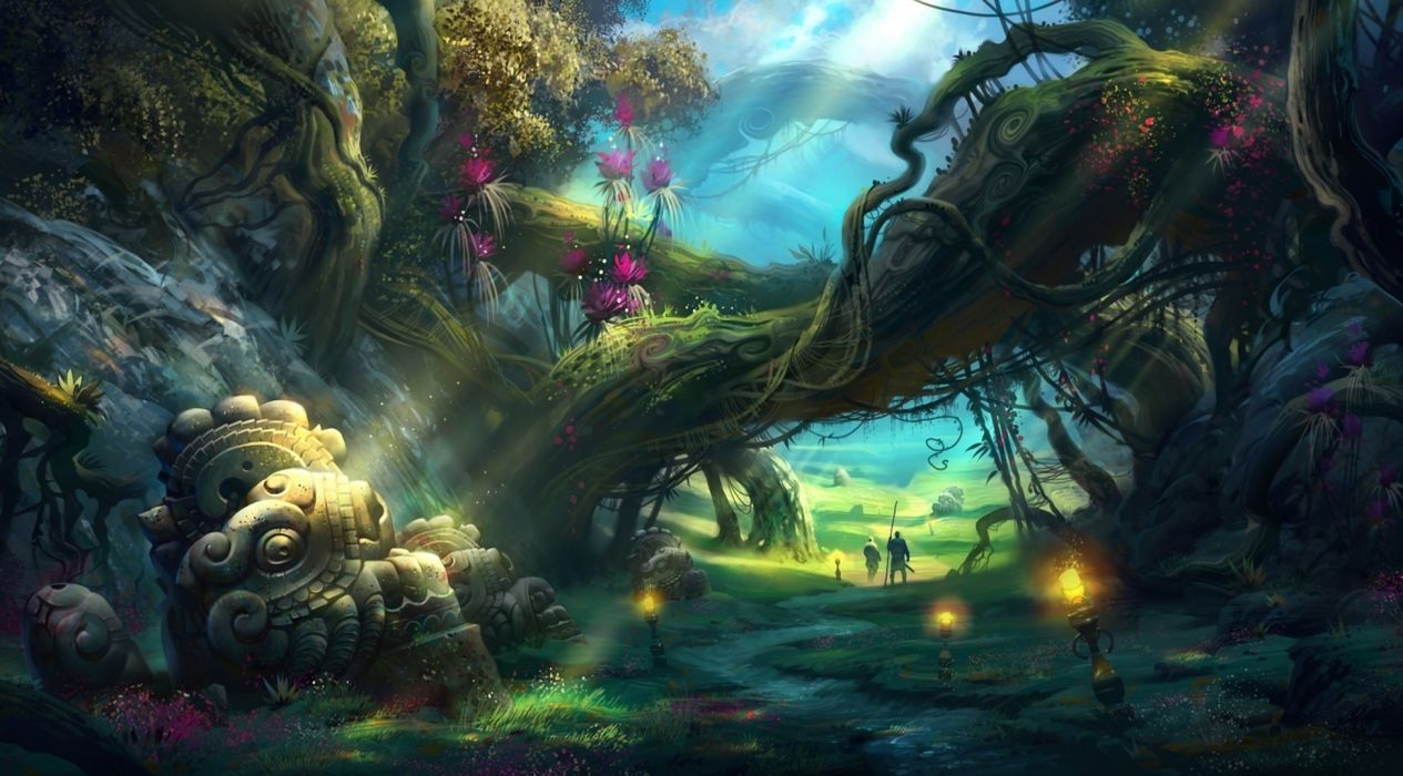 adventure fantasy art landscapes path trail people flowers lamps fire decay ruins trees forest wallpaper