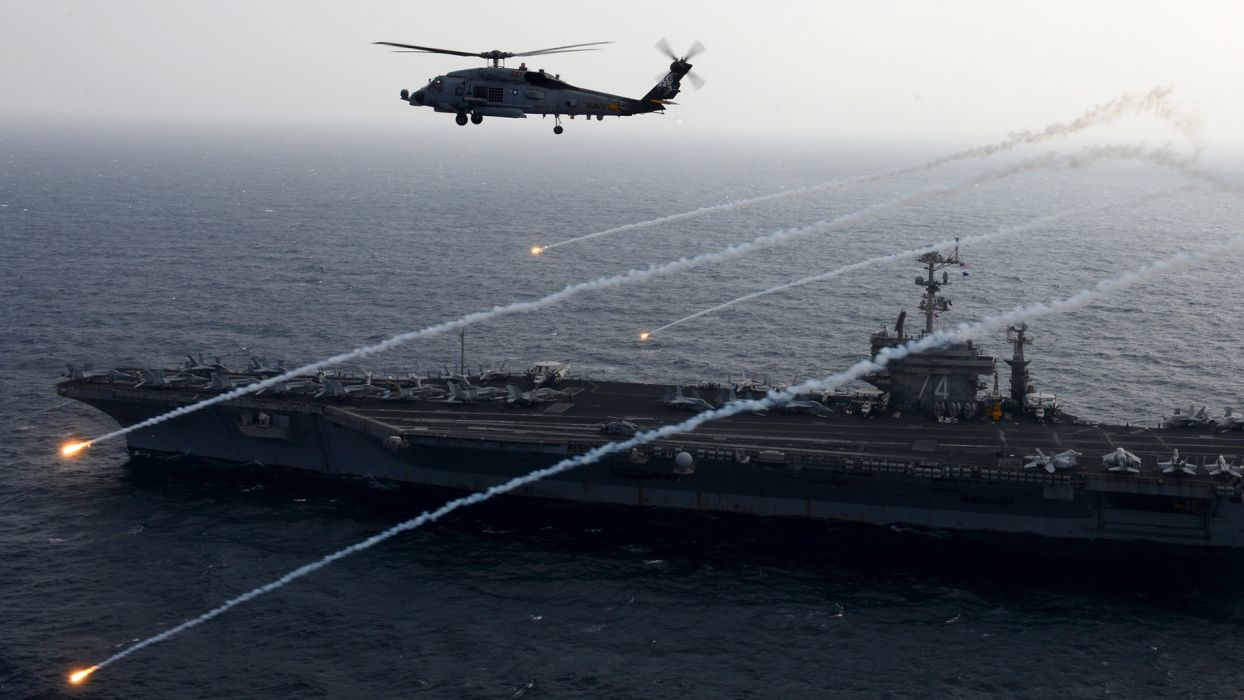 Aircraft Carrier Helicopter Flares military navy ocean sea fighter jets wallpaper