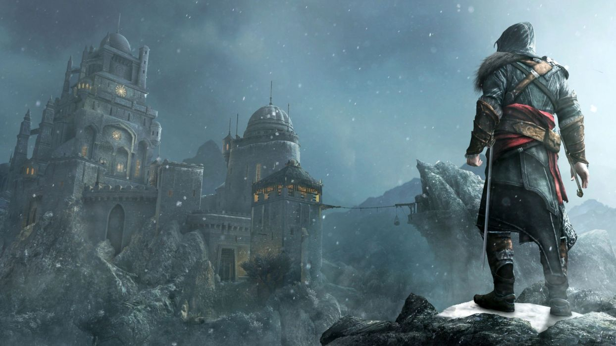 Assassin's Creed Snow fantasy warrior weapons sword castle wallpaper