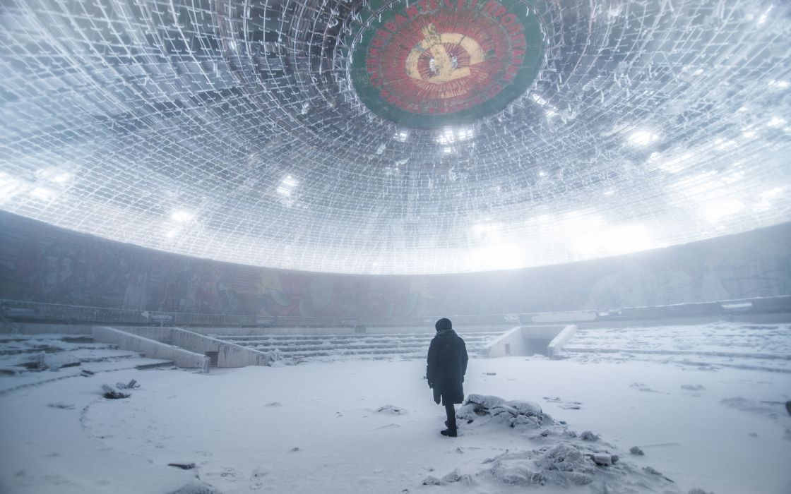Building Abandon Deserted Urban Decay Snow Winter Person people moodrussia wallpaper