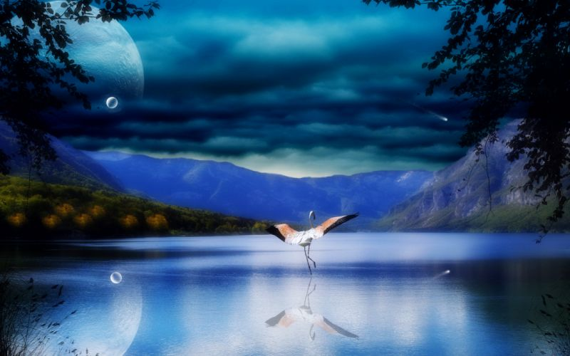 cg digital art manipulation bubbles dream mood birds flight flamingo nature lakes mountains reflection sky clouds autumn fall trees leaves forest shore wallpaper