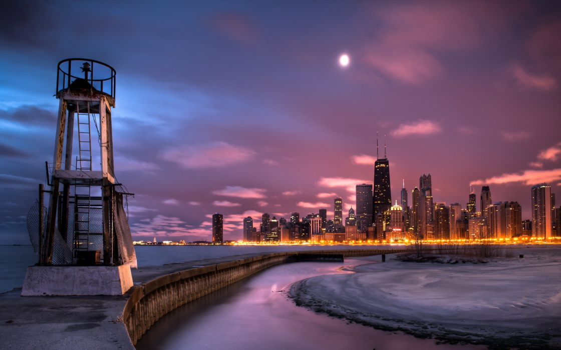 Chicago winter ice jetty lighthouse lakes night lights architecture buildings skyscraper sky clouds wallpaper