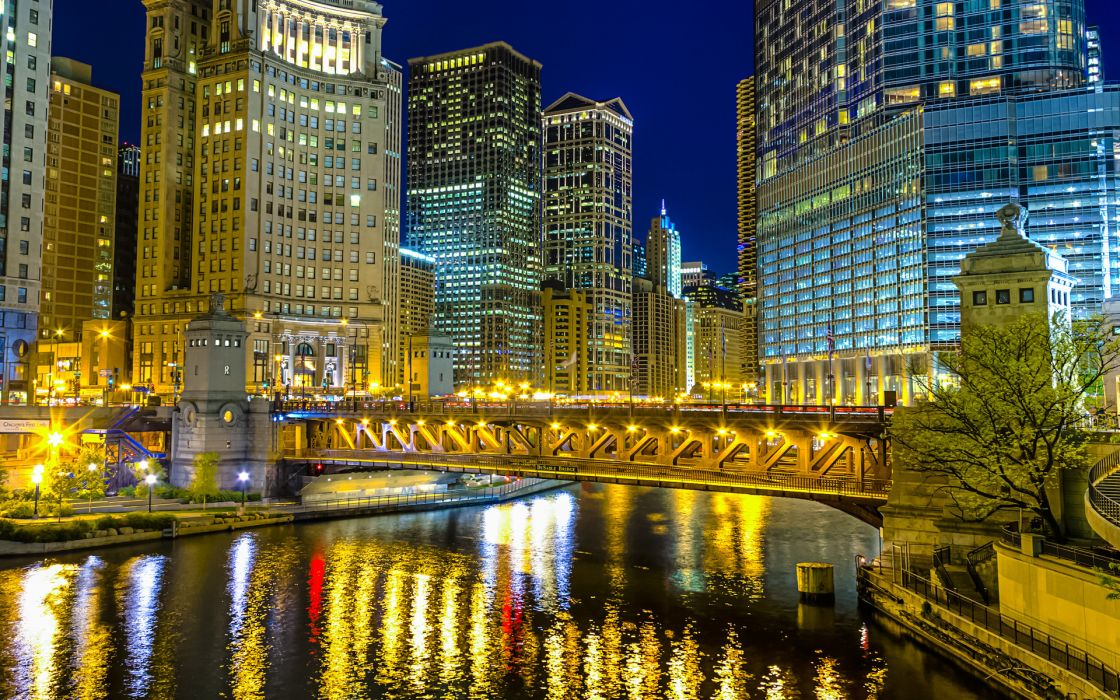 Chicago Illinois architecture buildings skyscraper night lights hdr bridges rivers reflection cities wallpaper