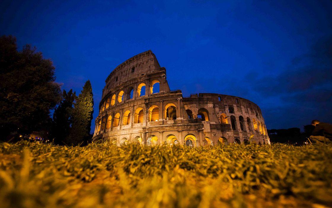 Colosseum Rome Night ruins decat ancient architecture buildings wallpaper