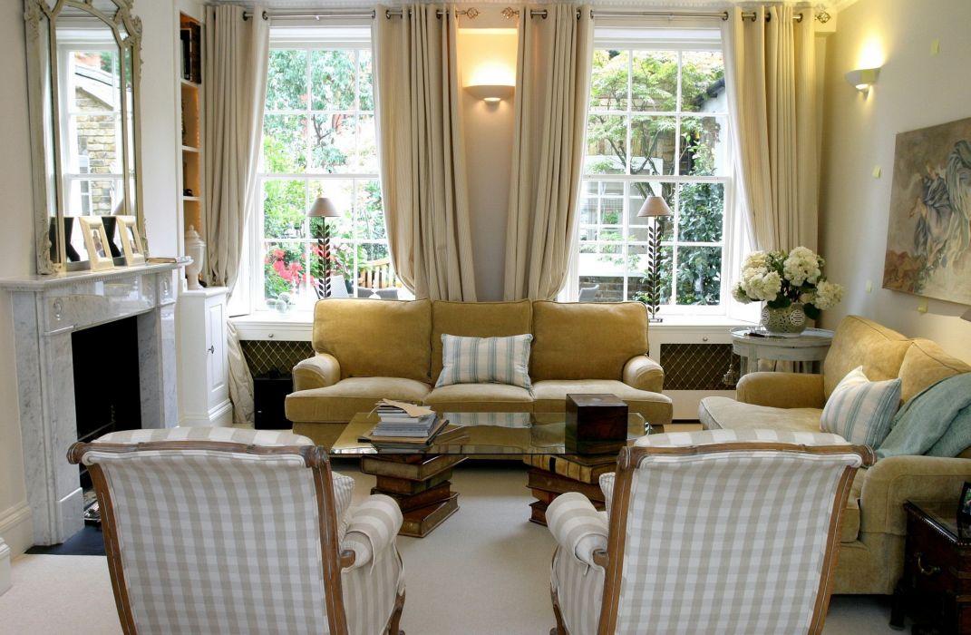Interior Armchair Sofa Fireplace Window Design furniture wallpaper