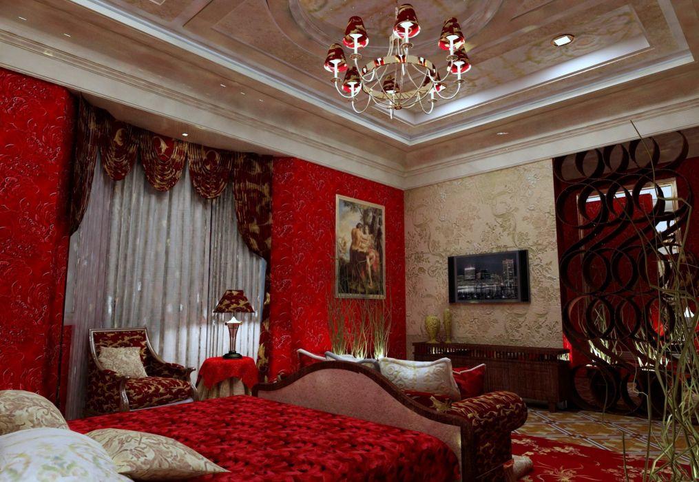 Interior Bed Ceiling Chandelier Design bedroom furniture wallpaper