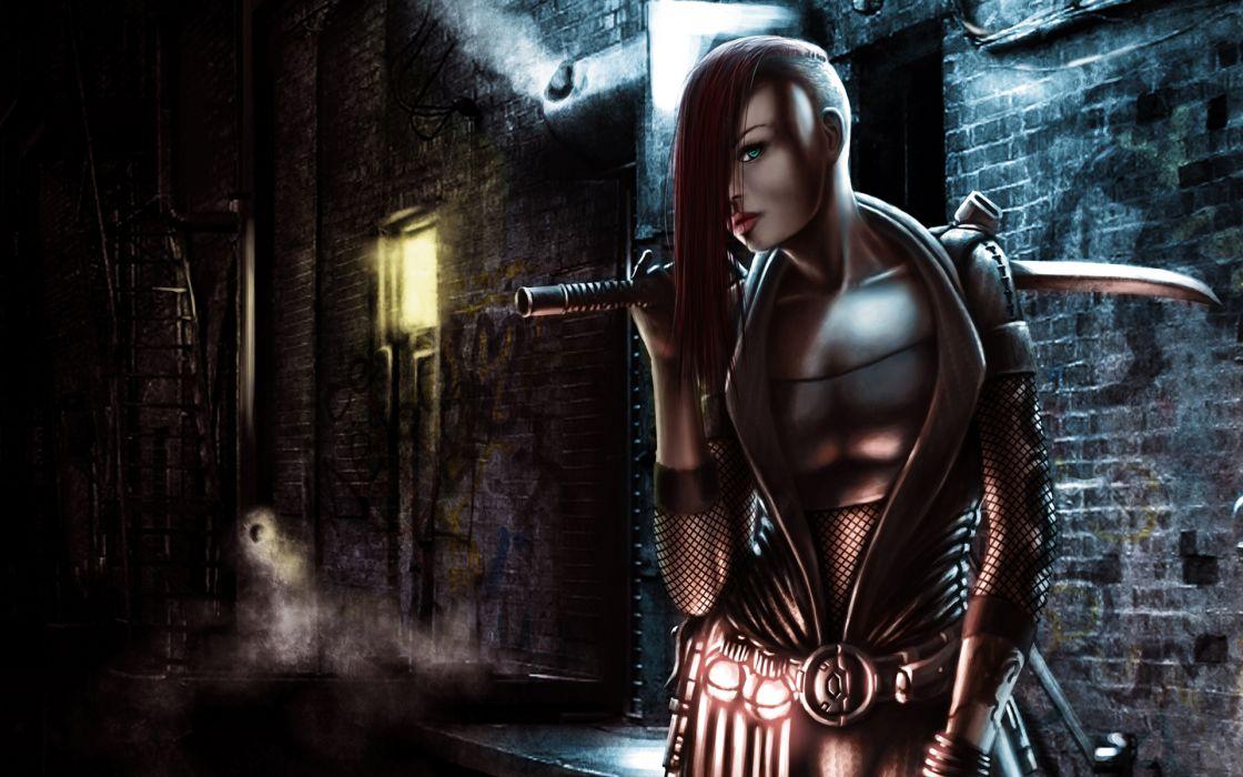 katana sword weapons warrior armor cyberpunk punk urban women females girl babes sexy fantasy art wallpaper