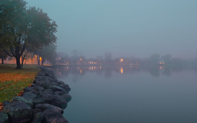 lakes water reflection fog mist stone rock houses architecture buildingd lights trees park autumn fall leaves wallpaper
