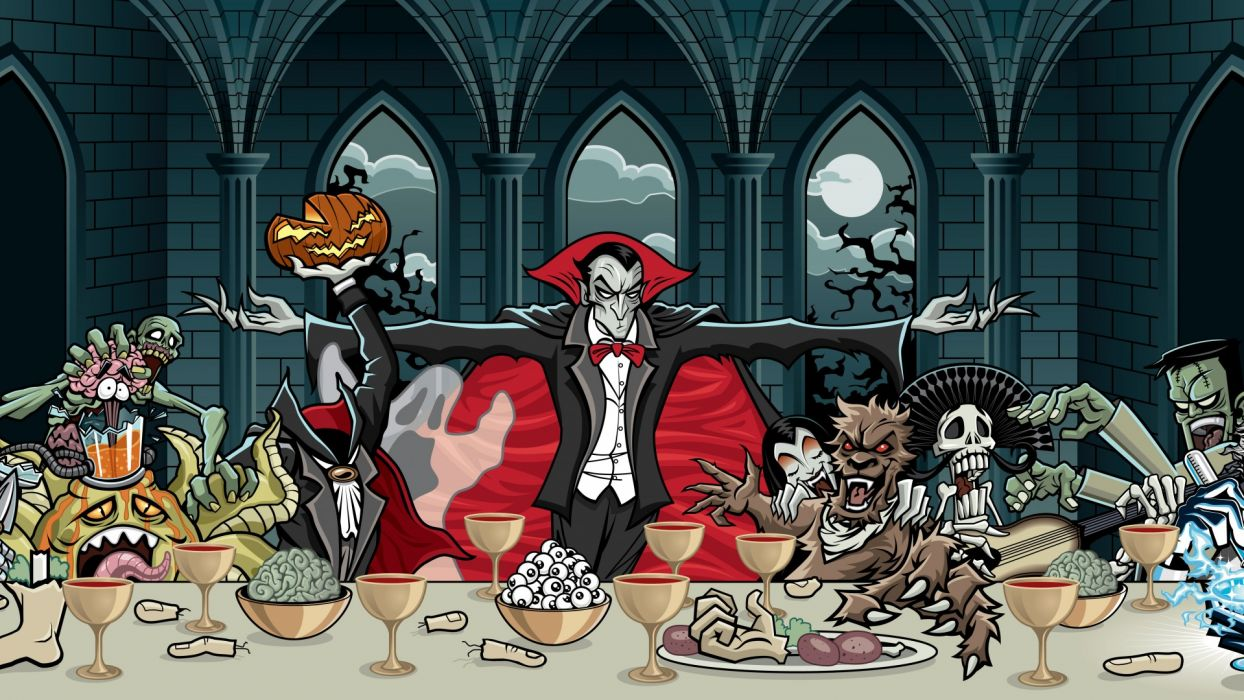 halloween dark vampire skull monsters creatures spooky wallpaper