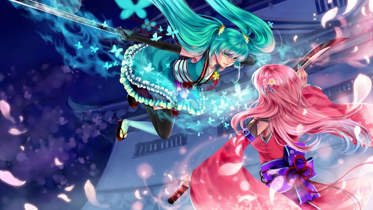 hatsune miku Megurine luka vocaloid girl sword wallpaper