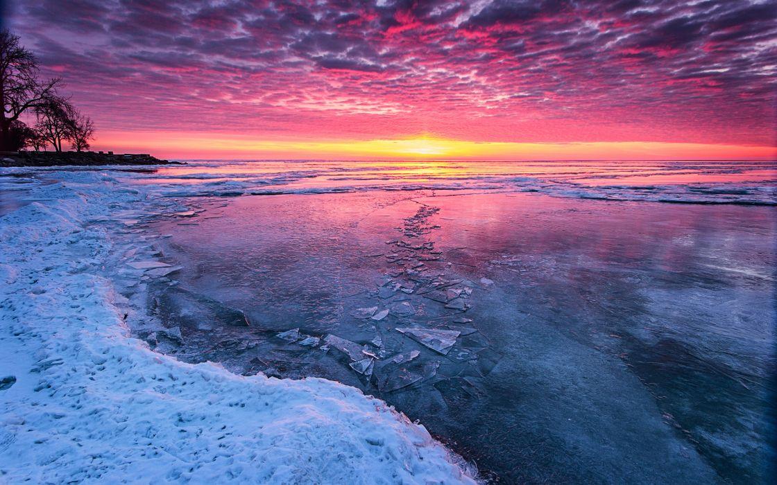 ice winter lake sunset sunrise sky clouds beaches shore