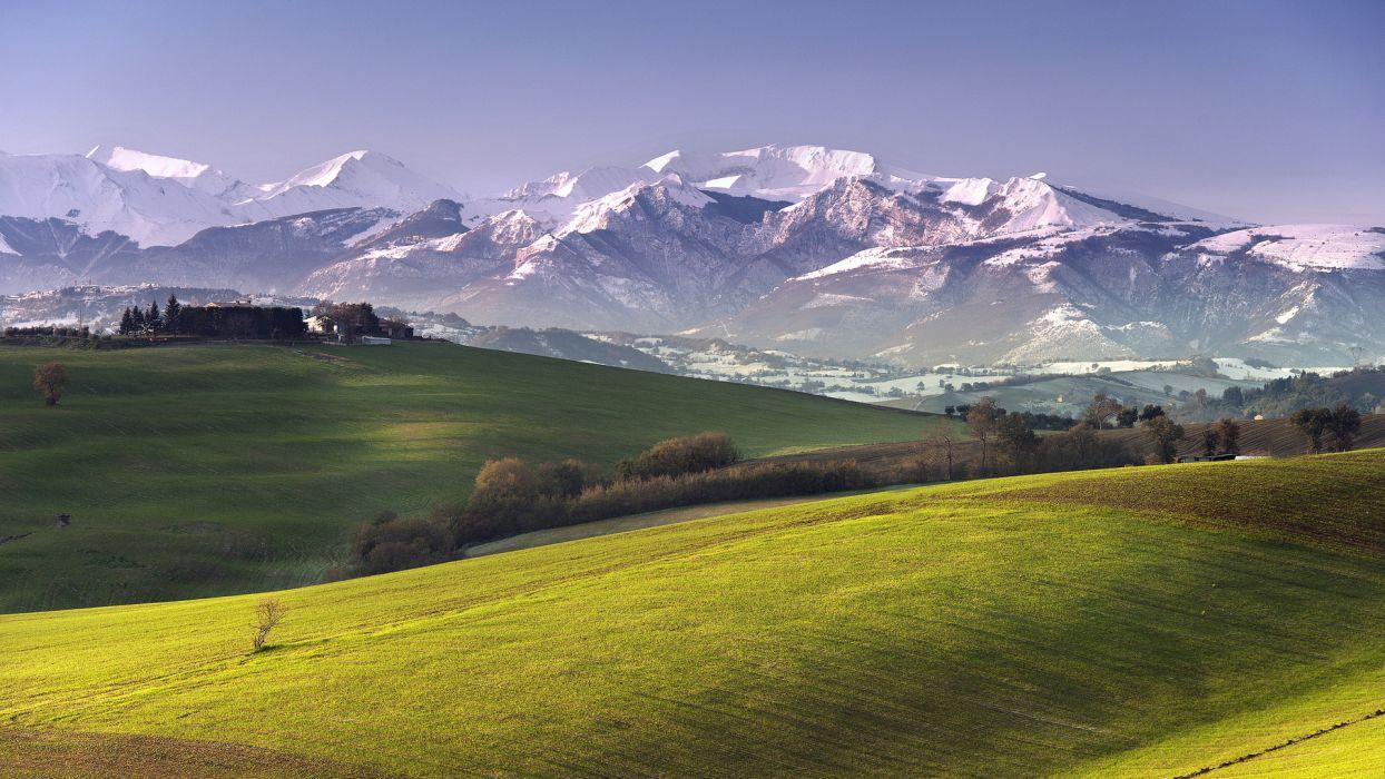 meadow nature landscapes fields farm mountains village town snow sky wallpaper