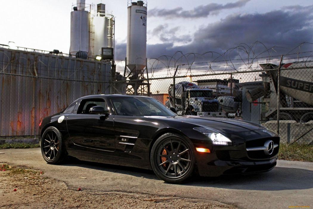 Mercedes Benz SLS AMG supercar black fence wallpaper