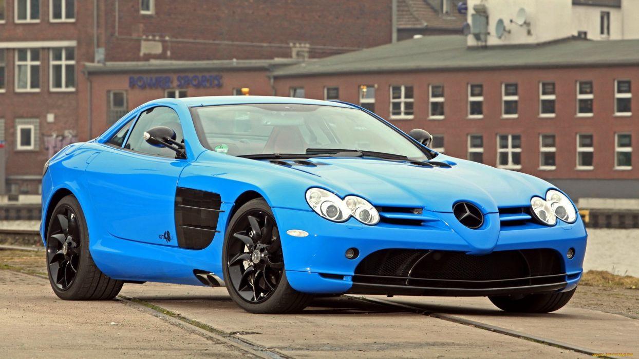 Mercedes SLR supercar blue tuning            e wallpaper