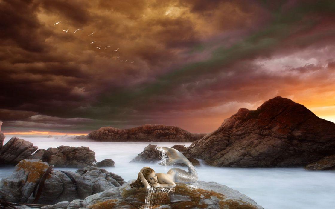 mermaid fantasy art cg digital art stone rocks mood women females sexy babes ocean sea sky clouds sunset sunsrise wallpaper