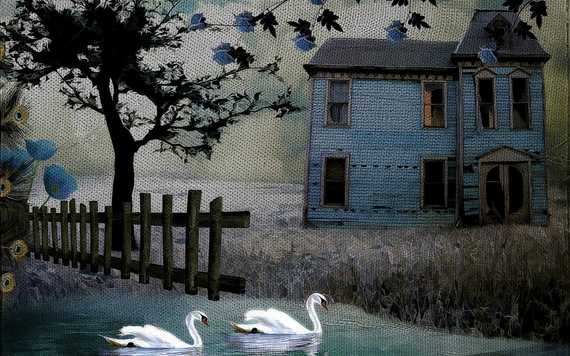 painting art texture rustic birds swan fence house buildings architecture trees wallpaper