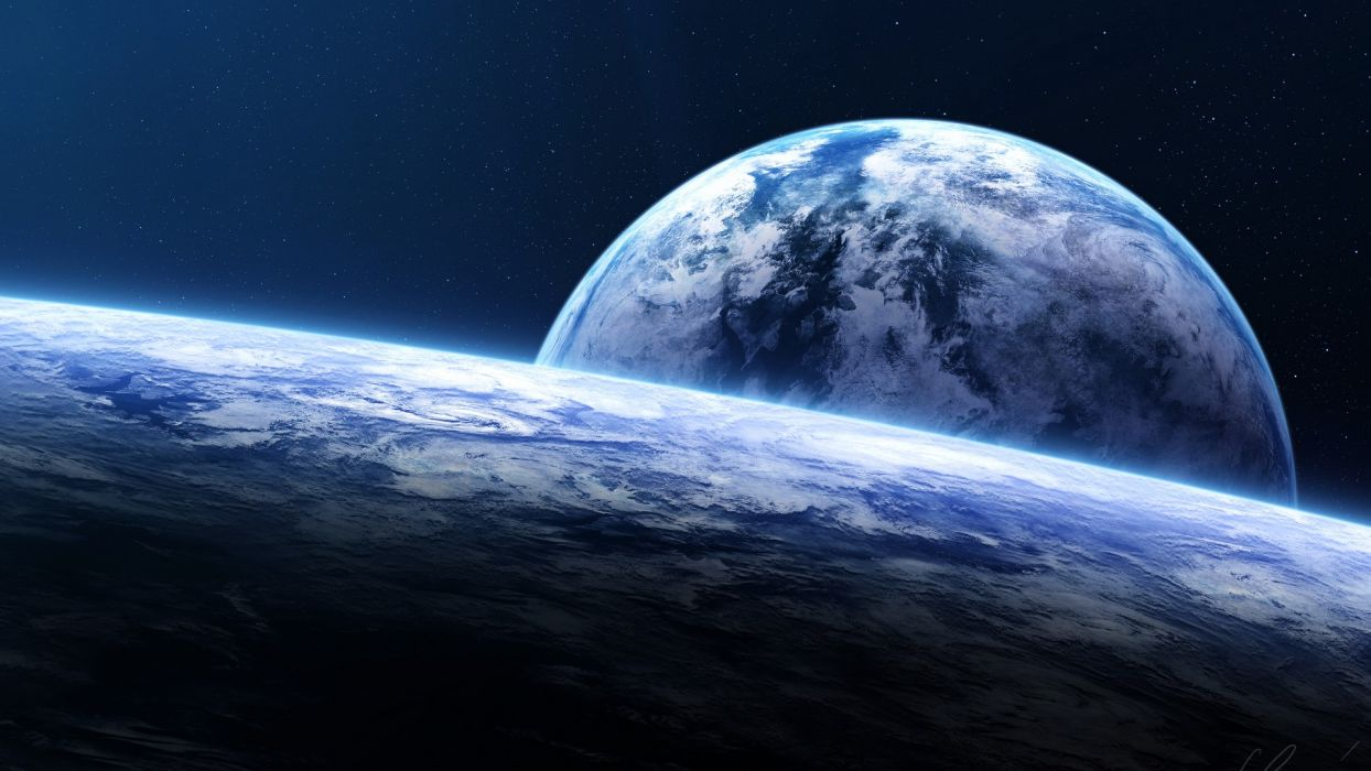 planetscape space sci-fi planets landscapes moon stars wallpaper