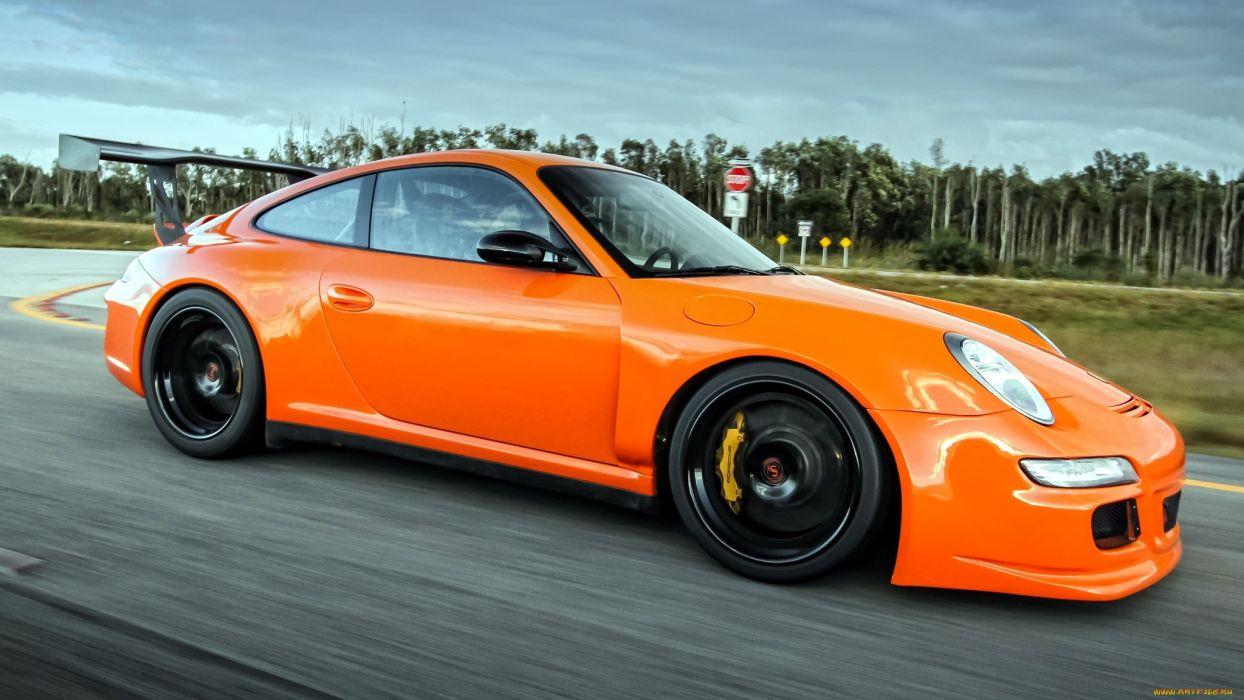 Porsche 911 gt3 tuning orange sportcar         f wallpaper