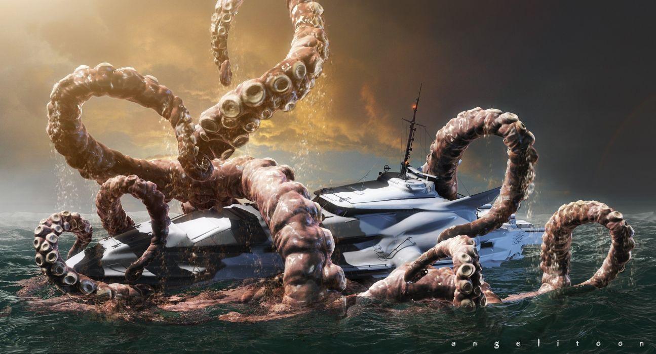monsters ships kraken creature dark fantasy ocean sea ships boats scary creepy spooky octopus water wallpaper