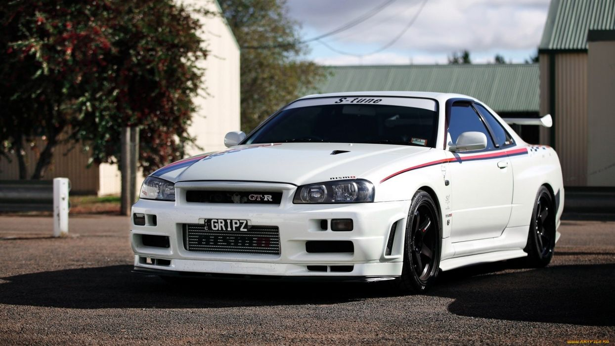Nissan Skyline R34 supercar tuning white wallpaper