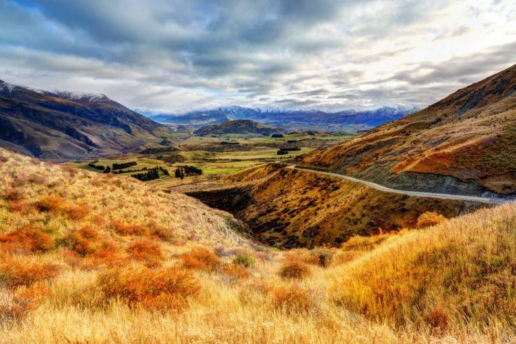 new zealand nature landscapes valley hills mountaisn fields sky clouds trees roads wallpaper