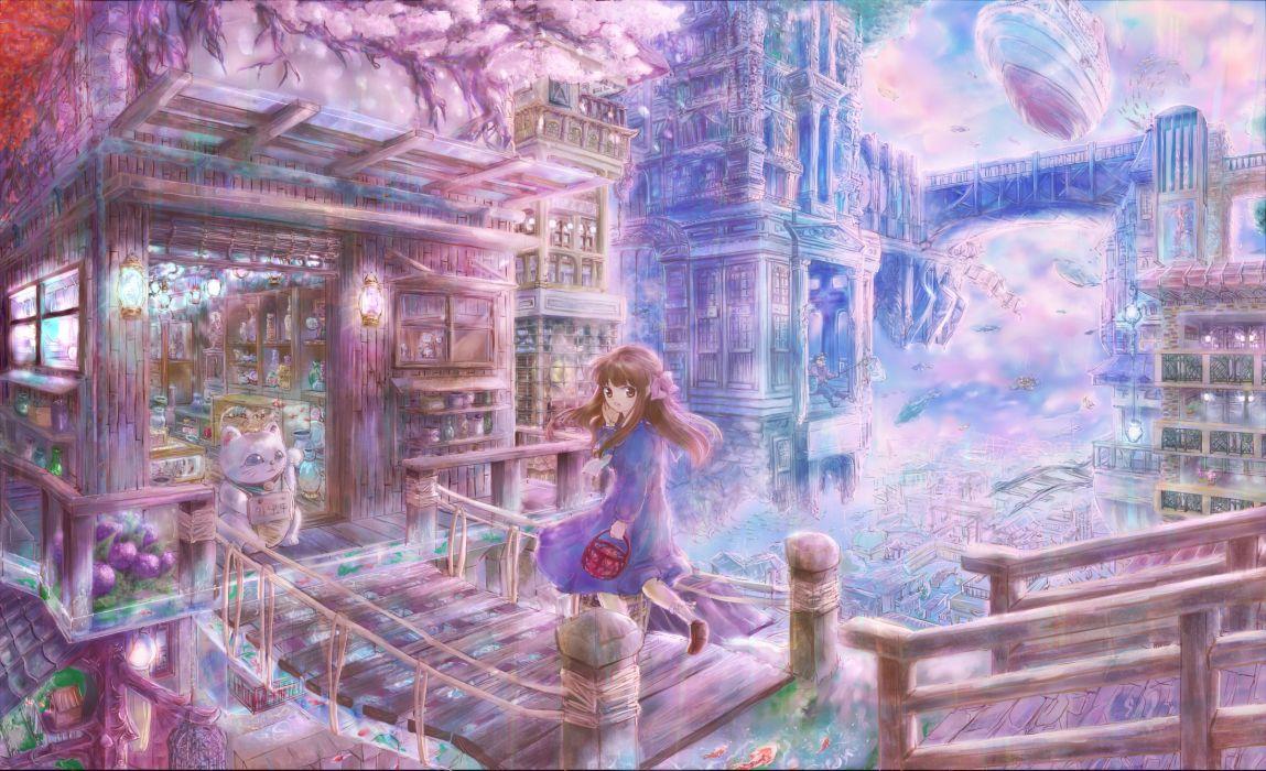 original anime pikuko cities buildings architecture wallpaper
