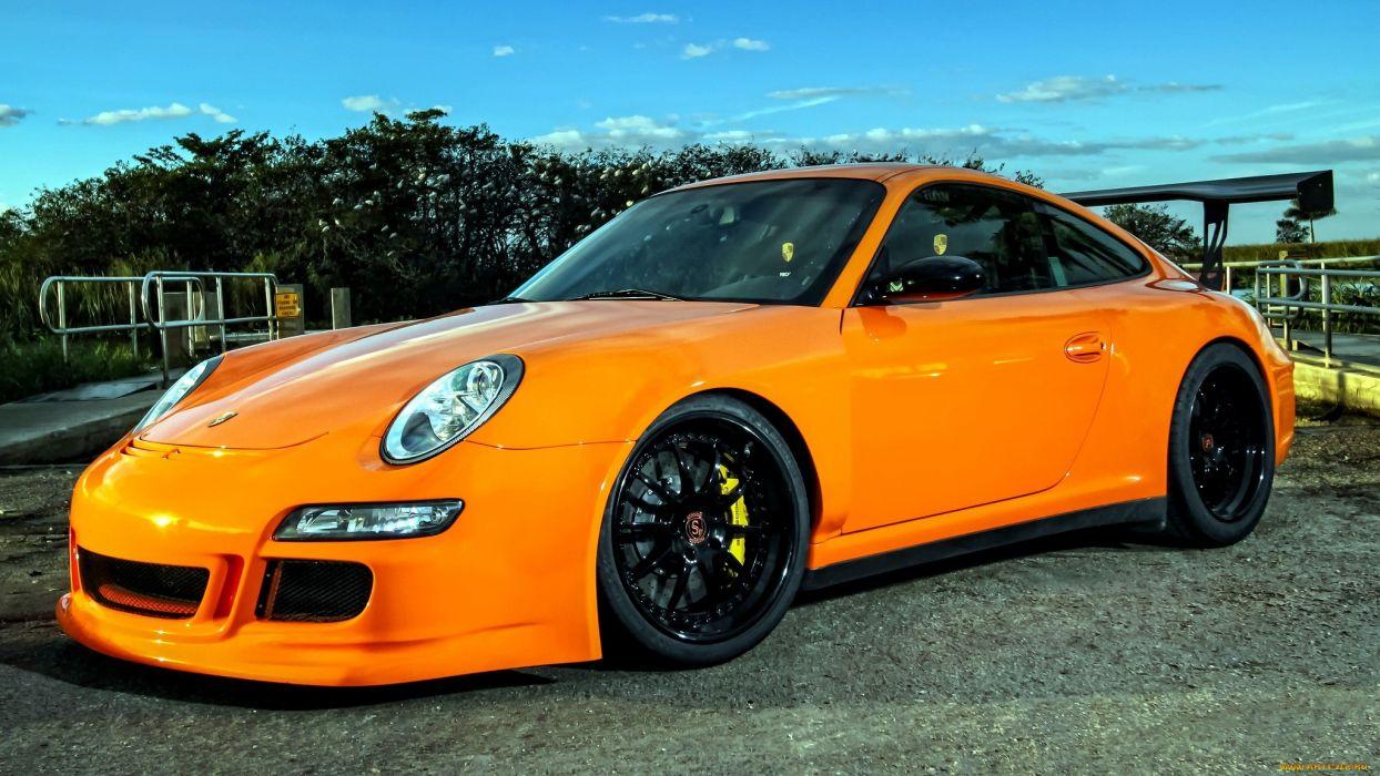 Porsche 911 gt3 tuning orange sportcar wallpaper