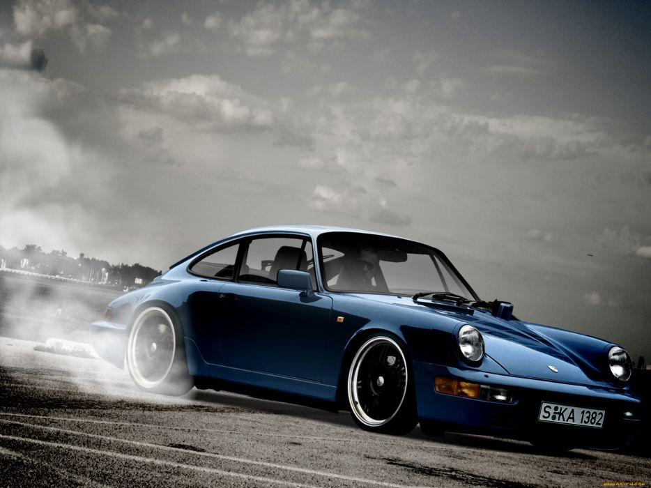 Porsche 964 sportcar burnout wallpaper