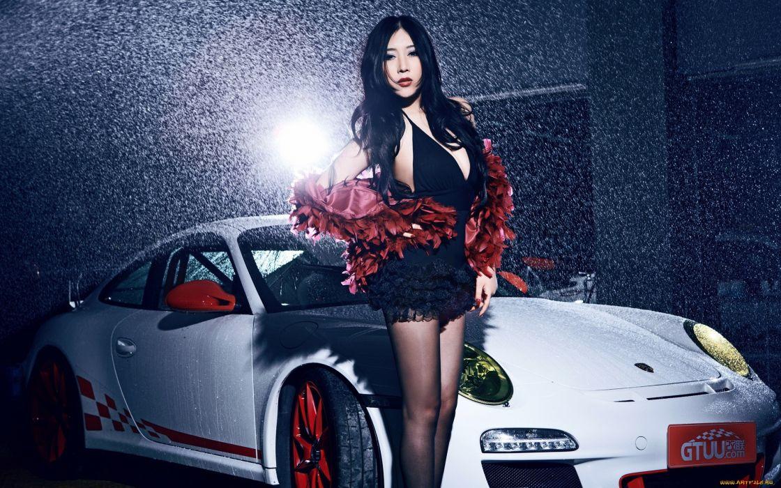 porsche asian oriental women models brunettes sexy babes females legs drops wallpaper