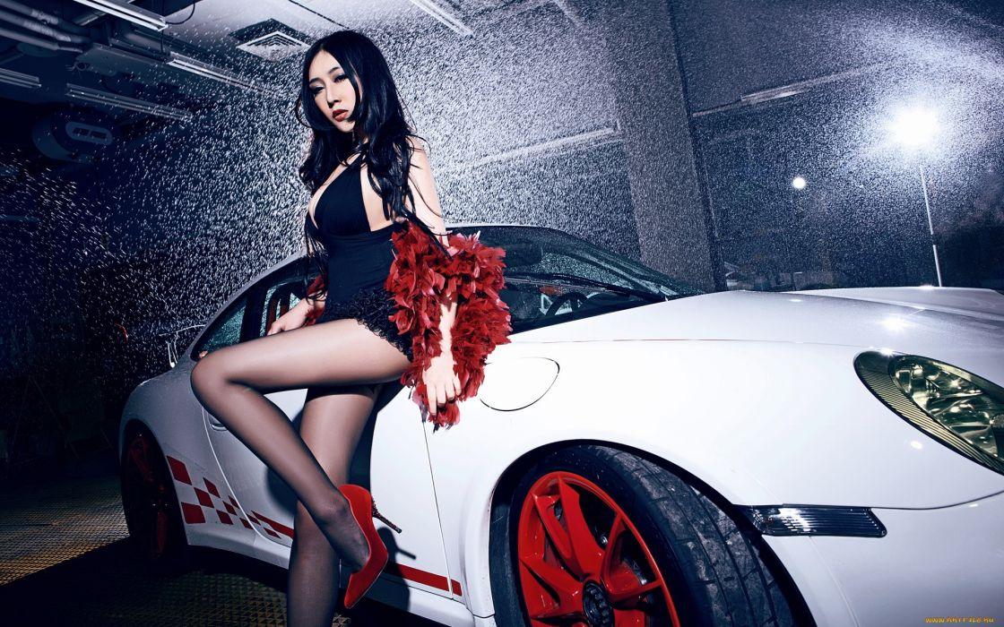 porsche asian oriental women models brunettes sexy babes females legs wallpaper