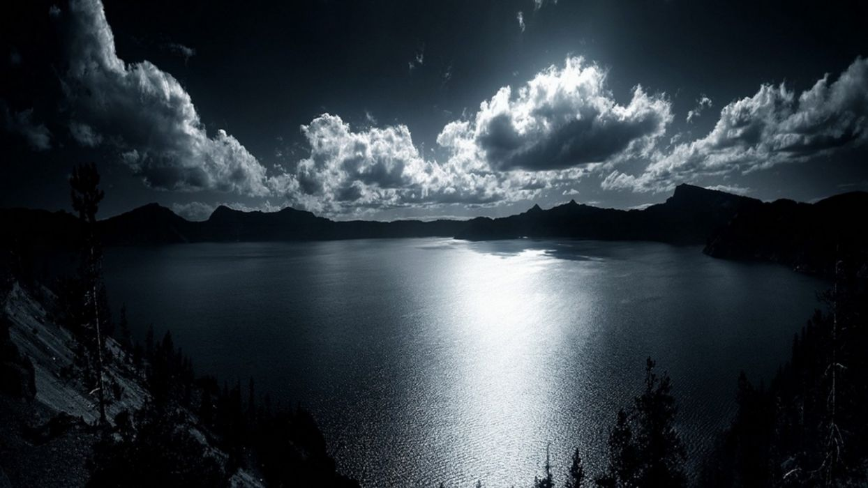 sky clouds night moonlight moon glow silhouette lakes reflection shore reflection mood mountains wallpaper