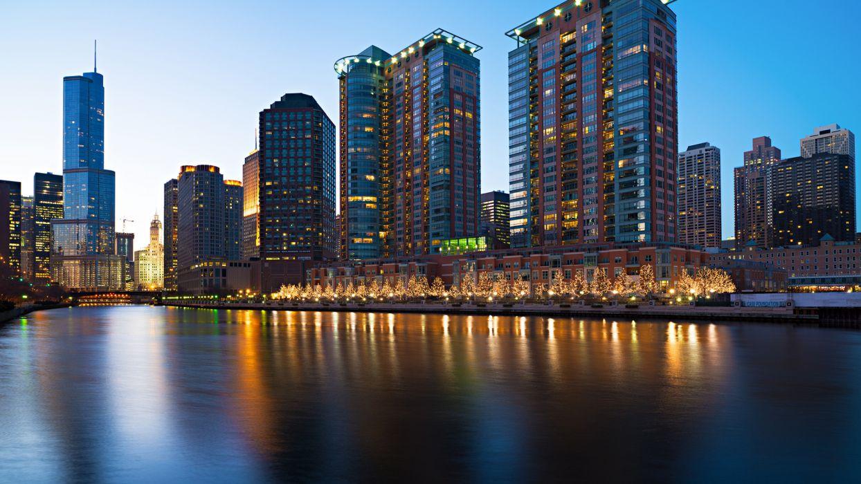 sky reflection bridge world architecture cities buildings skyscraper lights window rivers wallpaper