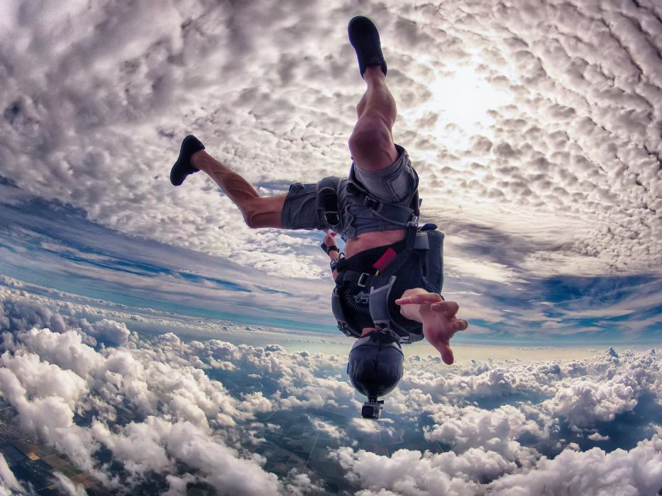 Skydive Fall Clouds extreme sports people men males wind landscapes flight camera wallpaper