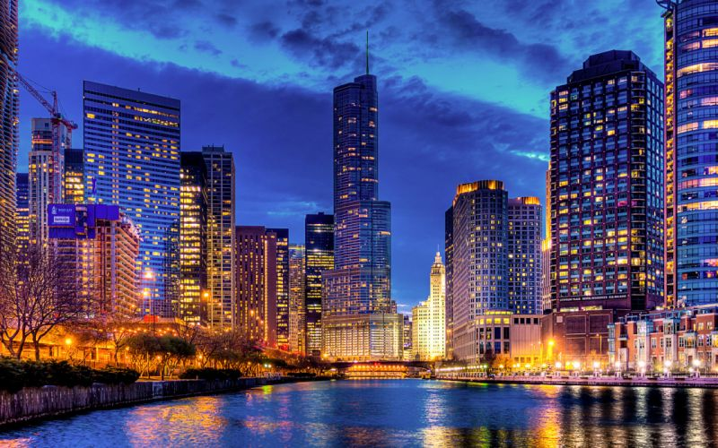 Streeterville Trump Tower Chicago Illinois USA architecture cities buildings skyscrapers night lights rivers reflection sky clouds wallpaper
