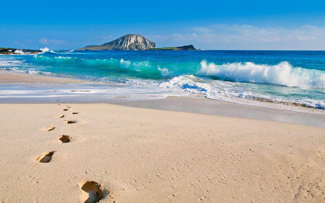 summer beaches sand footprint waves ocean sea sky clouds nature island wallpaper